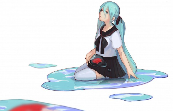Tags: Anime, Pixiv Id 1290550, VOCALOID, Hatsune Miku, Transparent Hair, Dripping, Water Reflection, Striped Ribbon, Puddle, Animal on Lap, Fanart From Pixiv, Fanart, Pixiv