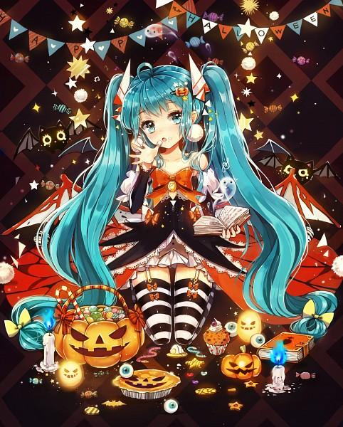 Tags: Anime, Dangmill, VOCALOID, Hatsune Miku, Banner, Lace Trim, Orange Bow, Fanart From Pixiv, PNG Conversion, Fanart, Pixiv