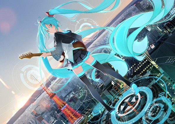 Tags: Anime, Beek, VOCALOID, Hatsune Miku, Electric Guitar, Guitar Strap, Skyscraper, Playing Guitar, Tokyo Tower, Tokyo, Fanart, Fanart From Pixiv, Pixiv