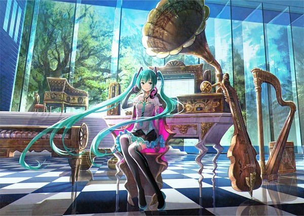 Tags: Anime, Fuji Choko, VOCALOID, Hatsune Miku, Harp, Baryton, Fanart From Pixiv, Fanart, Pixiv