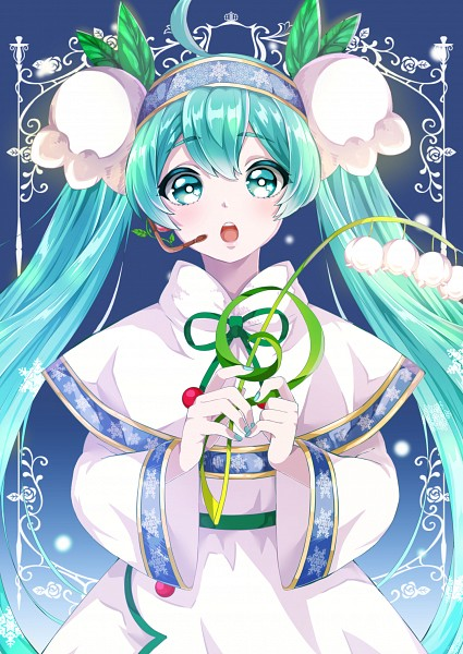 Tags: Anime, Pixiv Id 4333306, VOCALOID, Hatsune Miku, Green Ribbon, Aqua Nails, Lily Of The Valley, Yuki Design, Pixiv, Yuki Design 2015, Mobile Wallpaper, Fanart From Pixiv, Fanart