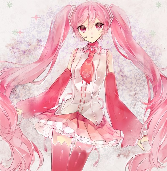Tags: Anime, Pixiv Id 3863587, VOCALOID, Hatsune Miku, Pink Armwear, Sakura Design, Fanart, Fanart From Pixiv, Pixiv