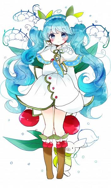 Tags: Anime, Tsukiyo, VOCALOID, Hatsune Miku, Rabbit Yukine, Lily Of The Valley, Yuki Design, Fanart, Yuki Design 2015, Pixiv, Mobile Wallpaper