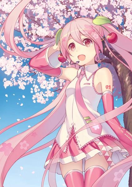 Tags: Anime, Momora, VOCALOID, Hatsune Miku, Tie Clip, Pink Armwear, Mobile Wallpaper, Sakura Design, Tumblr, Fanart