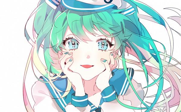 Tags: Anime, Piyo (ppotatto), VOCALOID, Hatsune Miku, Multi-colored Nails, Fanart From Pixiv, PNG Conversion, Fanart, Pixiv