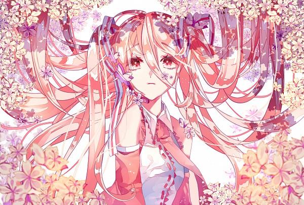 Tags: Anime, Pixiv Id 13973009, VOCALOID, Hatsune Miku, Flower Clip, Striped Ribbon, Multi-colored Ribbon, Pink Armwear, Pixiv, Fanart From Pixiv, Fanart, PNG Conversion, Sakura Design