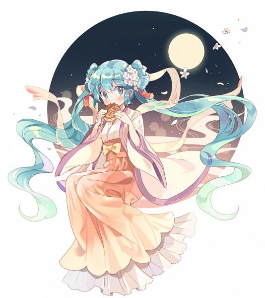 Tags: Anime, Apple972, VOCALOID, Hatsune Miku, Mooncake, Mid-Autumn Design, Pixiv, Fanart From Pixiv, PNG Conversion, Fanart