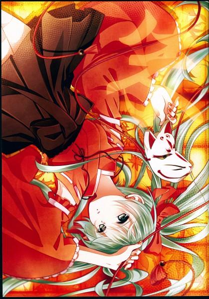 Tags: Anime, Tsujio, Miks Color, VOCALOID, Hatsune Miku, Orange Bow, Kimono Shirt, Holding Mask, Bright Colors, Orange Nails, Orange Armwear, Fanart, Scan