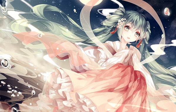 Tags: Anime, Wei Cha Wai, VOCALOID, Hatsune Miku, Water Reflection, Fanart, Mid-Autumn Design, Pixiv, Fanart From Pixiv, PNG Conversion
