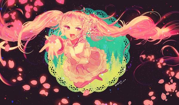 Tags: Anime, Pixiv Id 2603770, VOCALOID, Hatsune Miku, Pink Armwear, Doily, PNG Conversion, Fanart, Sakura Design, Pixiv, Revision, Wallpaper, Fanart From Pixiv
