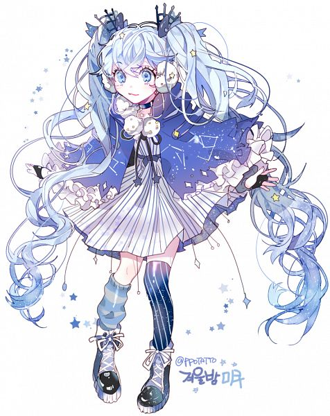 Tags: Anime, Piyo (ppotatto), VOCALOID, Hatsune Miku, Vertical-striped Dress, Vertical-striped Legwear, Fanart From Pixiv, Fanart, PNG Conversion, Pixiv, Twitter, Fuyu no Yoru Design