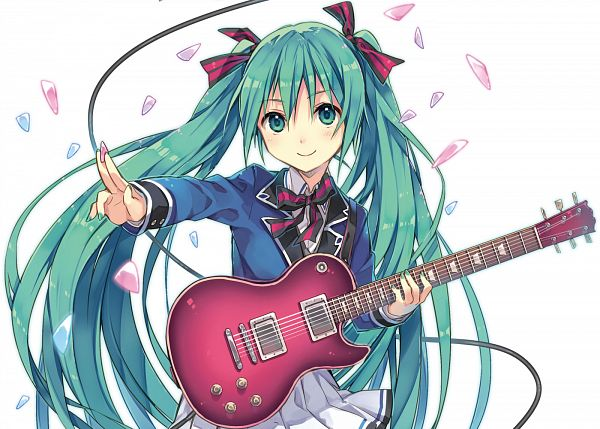 Tags: Anime, Natsu Natsuna, VOCALOID, Hatsune Miku, Guitar Strap, Multi-colored Ribbon, Aqua Nails, Guitar Pick, Striped Ribbon, Electric Guitar, CD (Source), PNG Conversion, Fanart