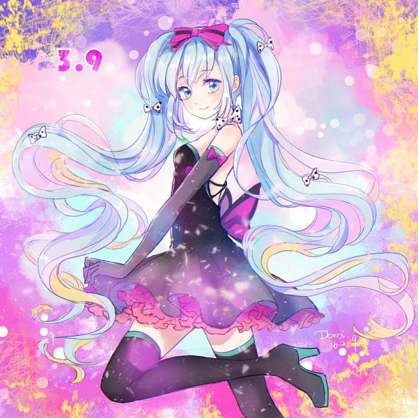 Tags: Anime, Dorris, VOCALOID, Hatsune Miku, Gray Handwear, Spotted Bow, Gray Gloves, Fanart From Pixiv, Fanart, Hatsune Miku Day, Pixiv