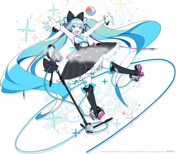 Tags: Anime, Lena (zoal), VOCALOID, Hatsune Miku, Vertical-striped Dress, Twitter, Official Art, Magical Mirai 2016, Magical Mirai