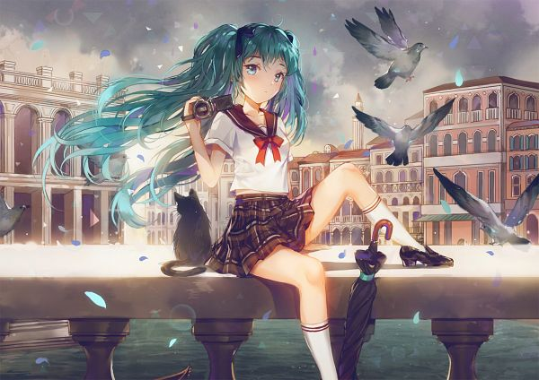 Tags: Anime, Dangmill, VOCALOID, Hatsune Miku, Railing, Closed Umbrella, Video Camera, PNG Conversion, Fanart, Pixiv, Fanart From Pixiv
