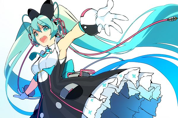 Tags: Anime, Nasubi (w.c.s), VOCALOID, Hatsune Miku, Aqua Neckwear, Vertical-striped Dress, Aqua Bow, Pixiv, Magical Mirai 2016, Fanart, Magical Mirai, Fanart From Pixiv
