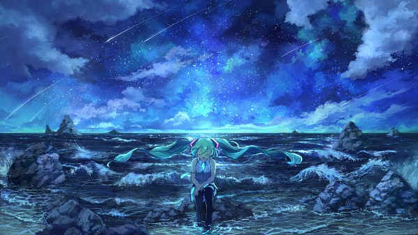 Tags: Anime, Pixiv Id 1922055, VOCALOID, Hatsune Miku, Aqua Neckwear, Waves, Sitting On Rock, Soaking Feet, Facebook Cover, Fanart From Pixiv, Pixiv, Fanart, Wallpaper