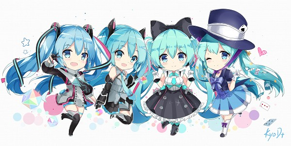 Tags: Anime, KyoD+, Project DIVA F 2nd, VOCALOID, Hatsune Miku, Magical Mirai 2016, Project DIVA Magical Mirai, Wallpaper, Facebook Cover, Hand in Hand (Magical Mirai), Fanart From Pixiv, Magical Mirai, PNG Conversion