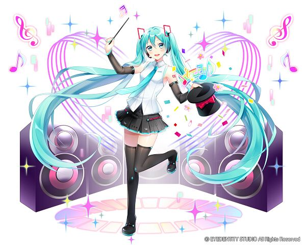 Tags: Anime, Pixiv Id 8178995, SQUARE ENIX, Kai-ri-sei Million Arthur, VOCALOID, Hatsune Miku, Speaker, Official Art, Pixiv, V4, PNG Conversion