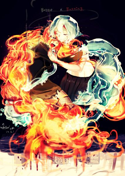 Tags: Anime, Pixiv Id 2603770, VOCALOID, Hatsune Miku, Burnt, Fiery Hair, Fanart From Pixiv, Mobile Wallpaper, PNG Conversion, Fanart, Bottle Design, Pixiv
