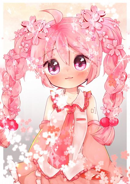Tags: Anime, Mami Love Candy, VOCALOID, Hatsune Miku, Semi Chibi, Flower Eyes, Pink Armwear, PNG Conversion, Sakura Design, Pixiv, Mobile Wallpaper, Fanart From Pixiv, Fanart