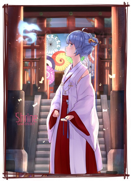 Tags: Anime, ZYre, VOCALOID, Hatsune Miku, Japanese Architecture, Shrine, Mobile Wallpaper, Fanart From Pixiv, Fanart, Pixiv