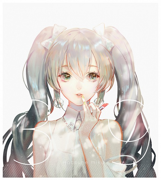 Tags: Anime, Say HANa, VOCALOID, Hatsune Miku, Lipstick Tube, Fanart From Pixiv, Fanart, PNG Conversion, Hatsune Miku Day, Pixiv