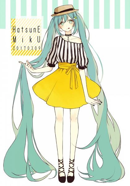 Tags: Anime, Akakura, VOCALOID, Hatsune Miku, Yellow Skirt, PNG Conversion, Fanart, Mobile Wallpaper, Hatsune Miku Day, Pixiv, Fanart From Pixiv