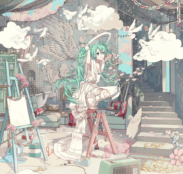 Tags: Anime, iXima, VOCALOID, Hatsune Miku, Banner, Bathtub, Stool, Ladder, Plug, Paint Bucket, Rug, Tape, Bucket