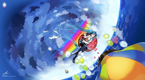Tags: Anime, Kaninn, VOCALOID, Hatsune Miku, Hot Air Balloon, White Bird, Pixiv, Facebook Cover, *Hello Planet。