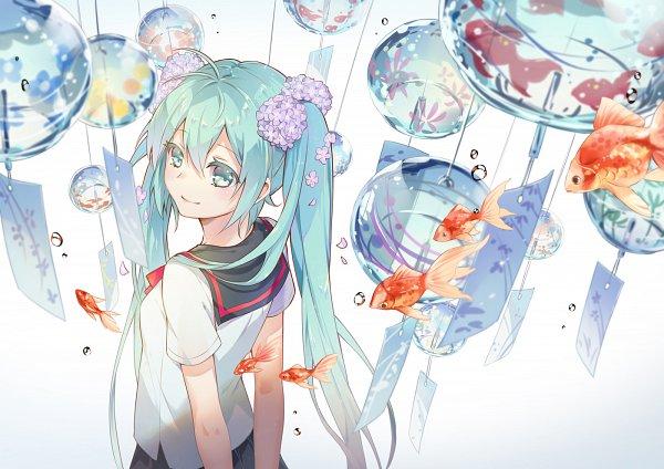 Tags: Anime, Minland4099, VOCALOID, Hatsune Miku, Wind Chime, Pixiv, Fanart From Pixiv, Fanart