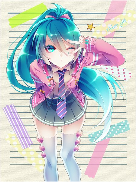Tags: Anime, 1055 (Artist), Project DIVA F, VOCALOID, Hatsune Miku, One Arm Behind Back, Pink Sweater, Tie Clip, Skirtm Wink, Revision, Pixiv, Mobile Wallpaper, Project DIVA Ribbon Girl