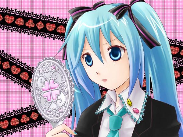 Tags: Anime, Yutu, Shugo Chara!, VOCALOID, Hatsune Miku, Shugo Chara! (Cosplay), Smiley Face, Plaid Background, Clubs (Card), Hand Mirror, Pins, Pixiv, Fanart