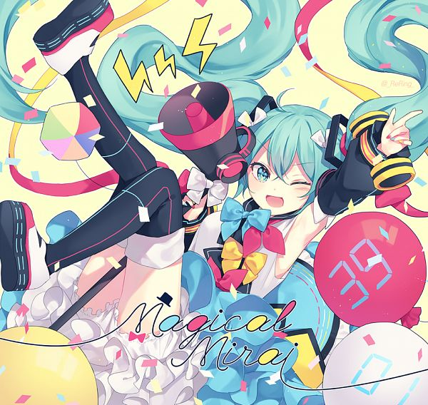 Tags: Anime, ReRing, VOCALOID, Hatsune Miku, Multi-colored Nails, White Underwear, Cube, Between Legs, Fanart, Magical Mirai, Pixiv, Magical Mirai 2018, Fanart From Pixiv
