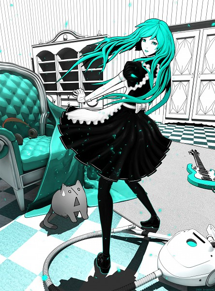 Tags: Anime, ArseniXC, VOCALOID, Hatsune Miku, Vacuum, Aqua
