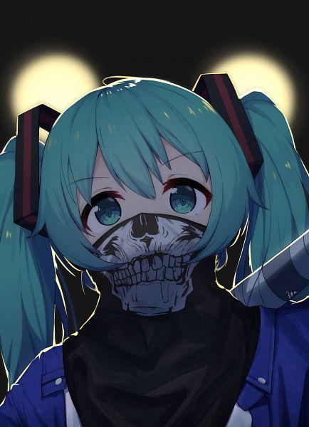 Tags: Anime, ZYre, VOCALOID, Hatsune Miku, Skull Mask, Baseball Ball, Fanart, Fanart From Pixiv, Pixiv