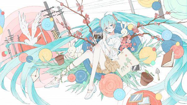 Tags: Anime, Pixiv Id 13498554, VOCALOID, Hatsune Miku, Power Lines, Potted Plant, White Bird, Utility Pole, Fanart, Pixiv, Fanart From Pixiv