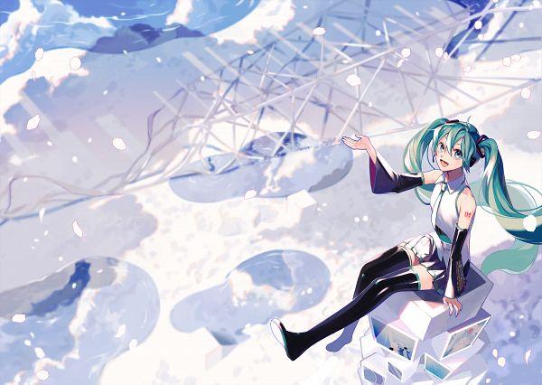 Tags: Anime, Pixiv Id 818809, VOCALOID, Hatsune Miku, Puddle, Aqua Nails, Fanart From Pixiv, Fanart, Pixiv