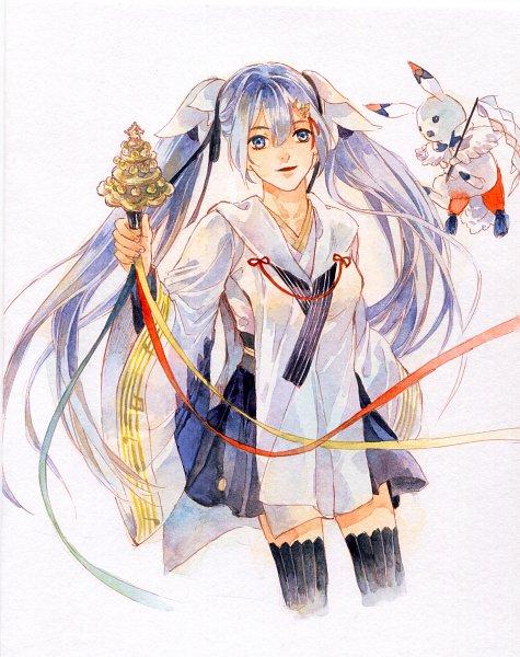 Tags: Anime, Pixiv Id 19241628, VOCALOID, Hatsune Miku, Rabbit Yukine, Kagura Suzu, Yuki Design, Watercolor, Yuki Design 2018, Traditional Media