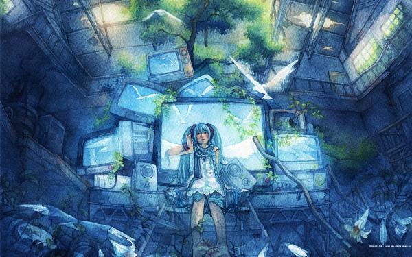 Tags: Anime, Shuka (taupe), VOCALOID, Hatsune Miku, Mikumix, Watercolor, Wallpaper