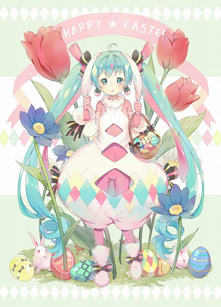 Tags: Anime, Ekita_Kuro, VOCALOID, Hatsune Miku, Tulip, Easter, Pixiv, Fanart, Fanart From Pixiv