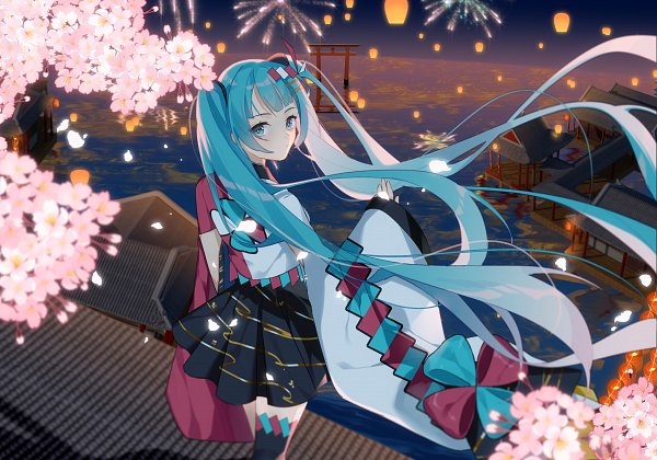 Tags: Anime, Pixiv Id 15470585, VOCALOID, Hatsune Miku, Japanese House, Standing On Roof, Fanart, Fanart From Pixiv, Magical Mirai 2020, Pixiv, Magical Mirai