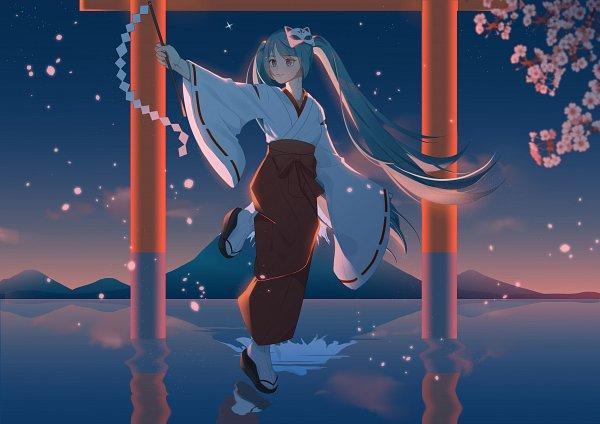 Tags: Anime, Pixiv Id 15470585, VOCALOID, Hatsune Miku, Walking On Water, Mount Fuji, Fanart From Pixiv, Fanart, Pixiv