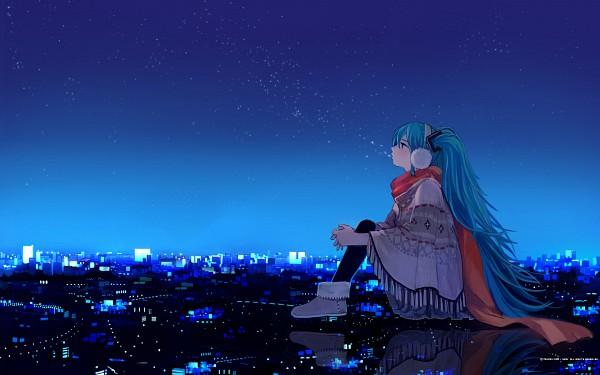 Tags: Anime, Shimetta Oshime, VOCALOID, Hatsune Miku, Poncho, Giant, Wallpaper, Mikumix, Pixiv