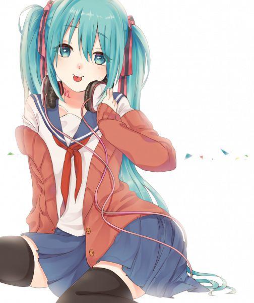 Tags: Anime, Pixiv Id 324530, VOCALOID, Hatsune Miku, Hand on Headphones, Fanart, Fanart From Pixiv, Pixiv