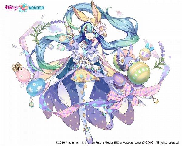 Tags: Anime, Kiyamachi, Ateam, Hatsune Miku -Tap Wonder-, VOCALOID, Hatsune Miku, Easter, Official Art, Pixiv