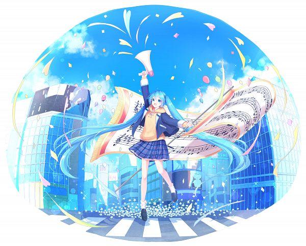 Tags: Anime, Pixiv Id 14972986, VOCALOID, Hatsune Miku, Crosswalk, Sheet Music, Fanart From Pixiv, Fanart, Pixiv