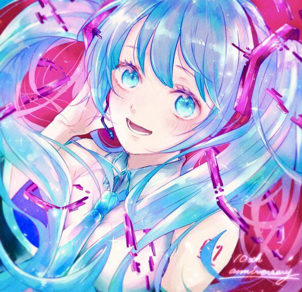 Tags: Anime, Pixiv Id 12132901, VOCALOID, Hatsune Miku, Text: Anniversary