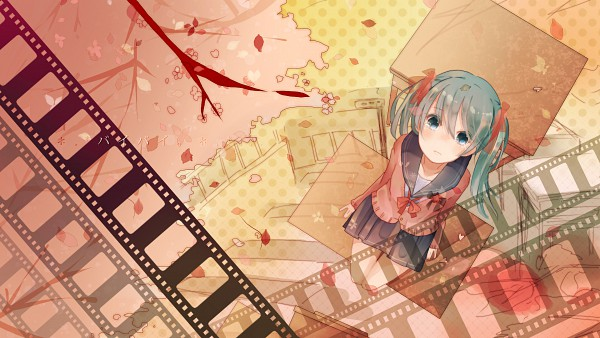 Tags: Anime, Makishimu, VOCALOID, Hatsune Miku, School Desk, Filmstrip, HD Wallpaper, Pixiv, Facebook Cover, Wallpaper