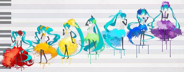 Tags: Anime, Nasako, VOCALOID, Hatsune Miku, Rainbow Colors, Facebook Cover, Wallpaper, HD Wallpaper